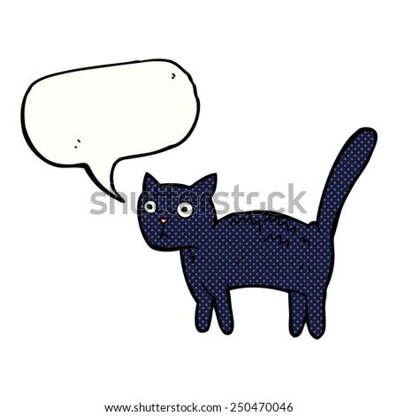 cartoon frightened cat with speech bubble - stock photo