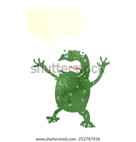 cartoon frightened frog with speech bubble - stock photo