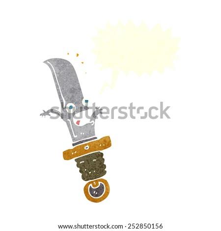 cartoon frightened knife with speech bubble - stock photo