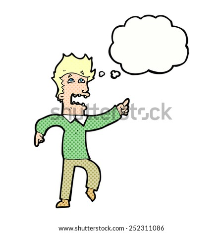 cartoon frightened man pointing with thought bubble - stock photo