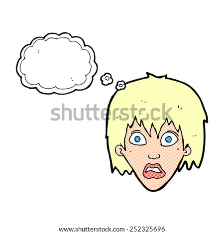cartoon frightened woman with thought bubble - stock photo