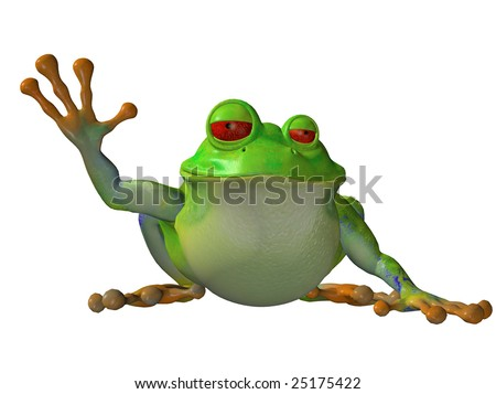 Cartoon frog sitting down waving isolated on white background