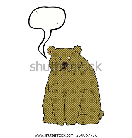 cartoon funny bear with speech bubble - stock photo