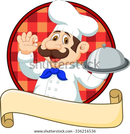 Cartoon funny Chef cartoon holding platter  - stock photo