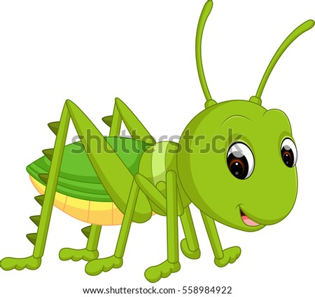 Aninimal Book: Cute Grasshopper Cartoon Stock Vector 481278589 - Shutterstock