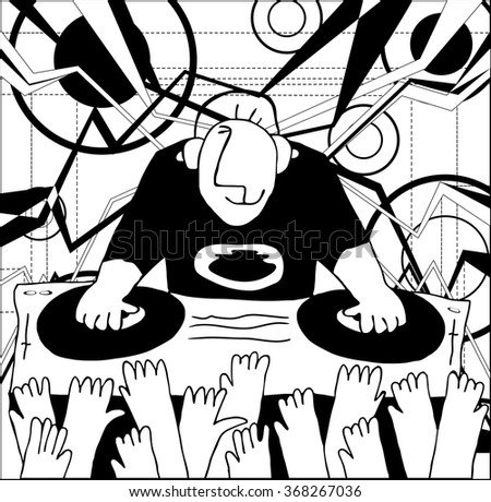 Cartoon funny DJ illustration. DJ music set  - stock photo