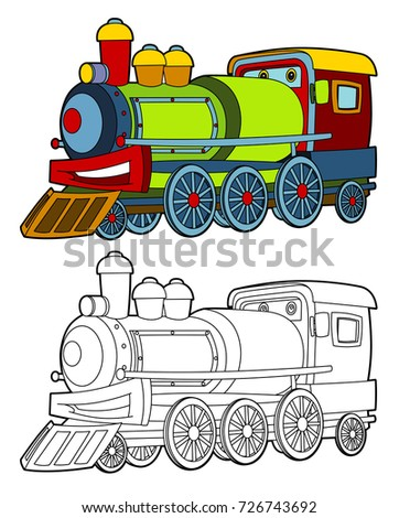 Cartoon funny looking steam train - illustration for children