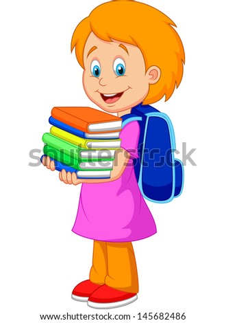 Cartoon girl bring pile of books - stock photo