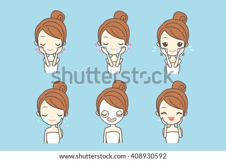 cartoon girl care her face with various actions, facial, beauty - stock photo