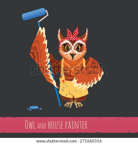 Cartoon girl owl with a roller - stock photo