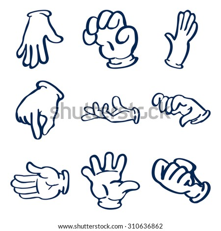 Cartoon gloved hands. clip art illustration - stock photo