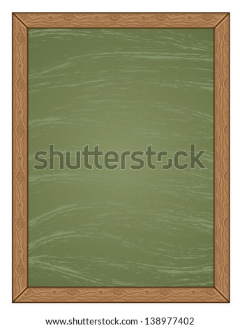 Cartoon green chalkboard with wooden frame background. - stock photo