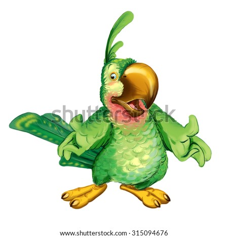Cartoon green parrot invites on a visit to a holiday. Invitation card for a holiday or birthday. Raster illustration.  - stock photo