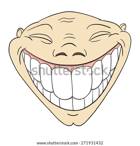 Cartoon grotesque funny face with big toothy smile isolated on white - stock photo