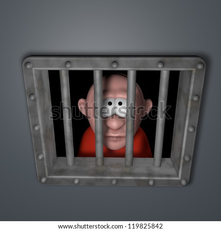cartoon guy behind riveted steel prison window - 3d illustration - stock photo
