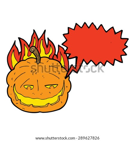cartoon halloween pumpkin with speech bubble - stock photo
