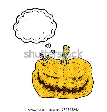 cartoon halloween pumpkin with thought bubble - stock photo