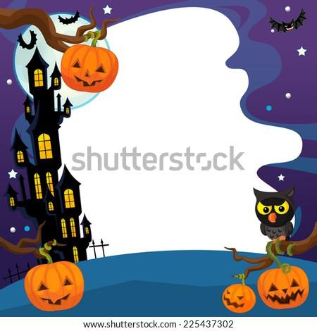 Cartoon halloween scene - illustration for the children - stock photo