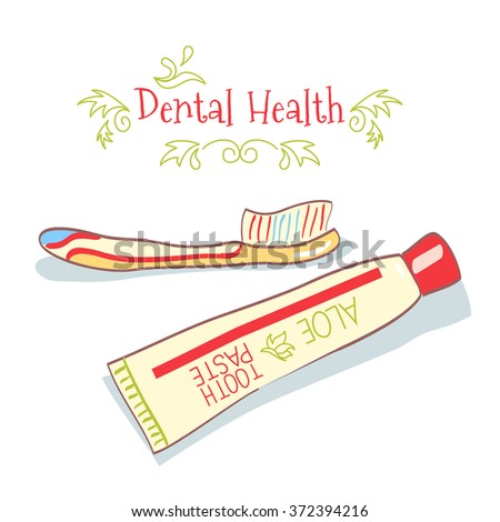 cartoon hand drawn toothpaste and toothbrush on white background - stock photo