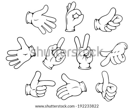 Cartoon hand gestures set for advertising design isolated on white background. Vector version also available in gallery - stock photo