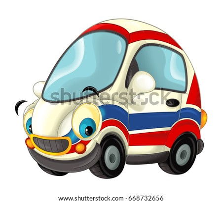 Cartoon happy and funny ambulance car - isolated illustration for children