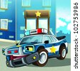 Cartoon happy and funny police car - illustration for children - stock photo