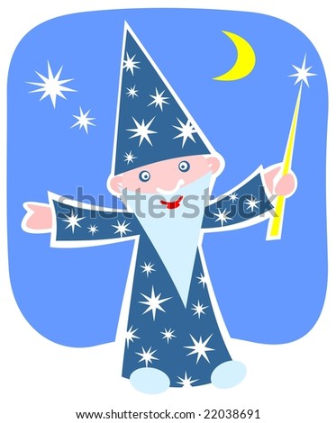 Cartoon happy astrologer on a night sky background.