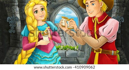 Cartoon happy couple talking in a castle room - illustration for children - stock photo