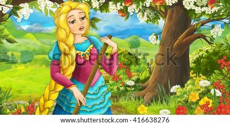 Cartoon happy girl under apple tree near the meadow - illustration for children - stock photo