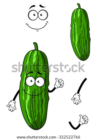 Cartoon happy green cucumber or gherkin vegetable with smiling face isolated on white - stock photo