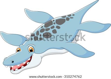 Cartoon happy  Liopleurodon  - stock photo