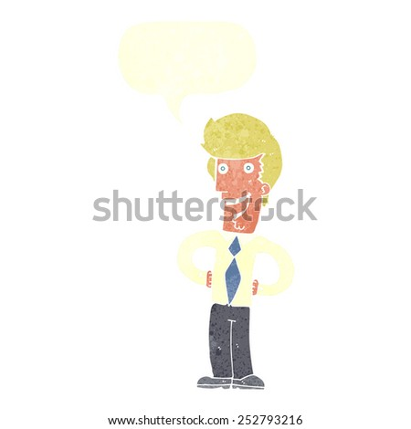 cartoon happy man with speech bubble - stock photo
