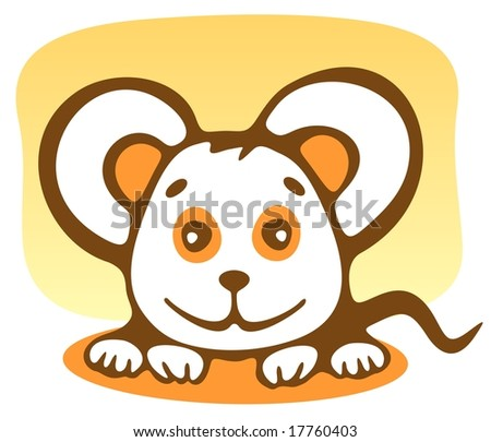Cartoon happy mousy isolated on a yellow background.