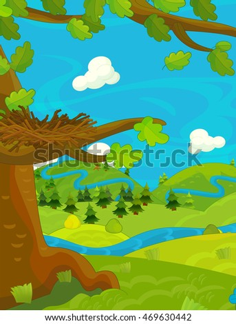 Cartoon happy nature scene with empty nest - illustration for children