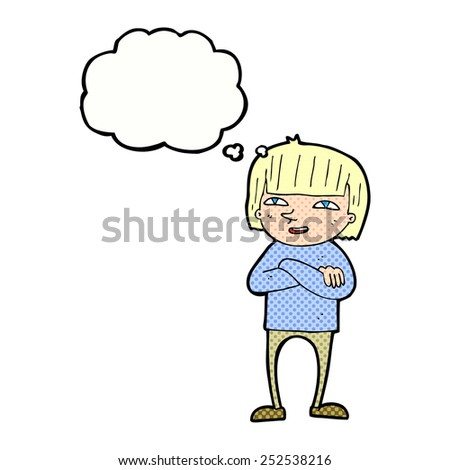 cartoon happy person with thought bubble - stock photo