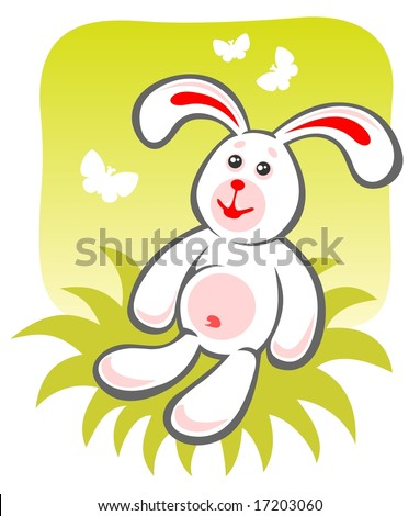 Cartoon happy rabbit sitting on a green background.