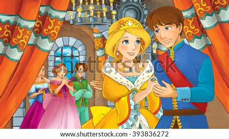 Cartoon happy royal couple in the castle - illustration for children - stock photo