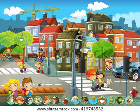 Cartoon happy scene of a playground in the city - kids having fun playing - illustration for children - stock photo