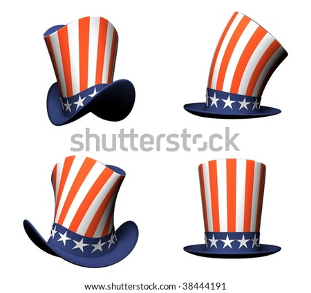 Cartoon Hat with American flag isolated on white background - stock photo