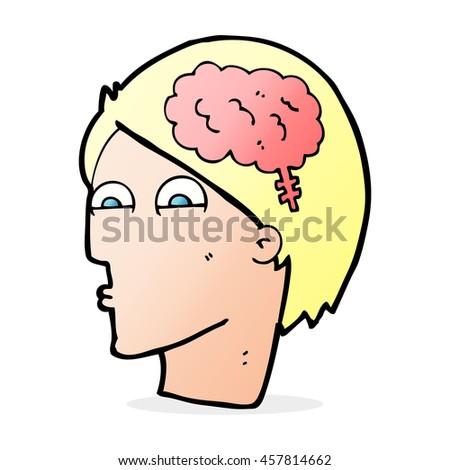 cartoon head with brain symbol - stock photo
