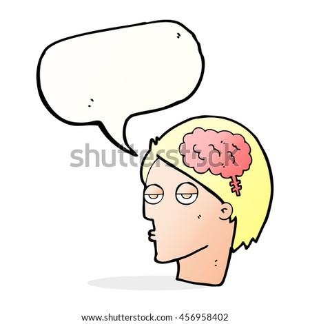cartoon head with brain symbol with speech bubble - stock photo