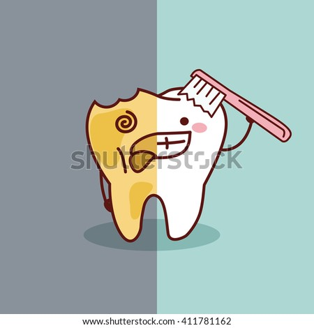 cartoon healthy and decayed tooth with toothbrush, great for dental care concept - stock photo