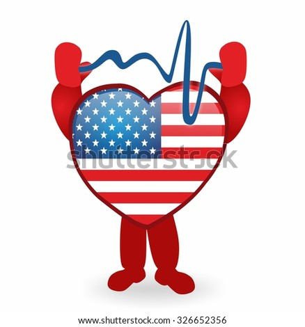 cartoon heart with usa flag and heartbeat - stock photo