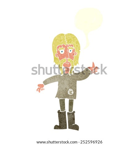 cartoon hippie man giving thumbs up symbol with speech bubble - stock photo