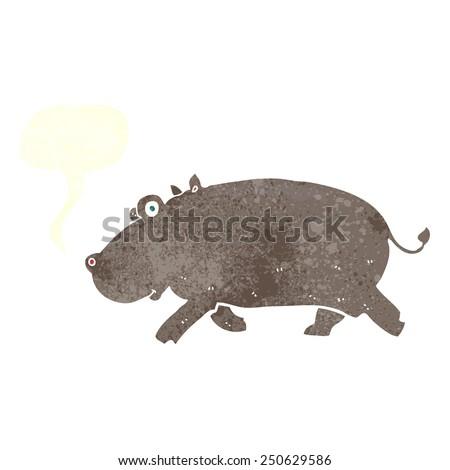 cartoon hippopotamus with speech bubble - stock photo