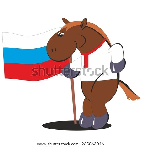 Cartoon horse with the flag of Russia 012 - stock photo