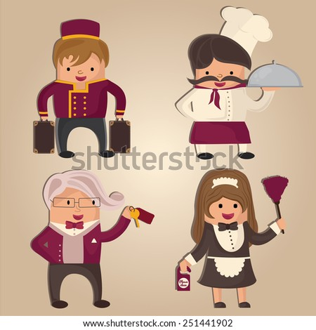 Cartoon hotel staff (porter, chef, concierge and cleaning woman) - stock photo