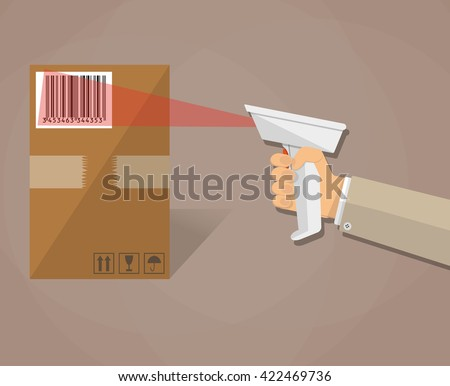 cartoon human hand is scanning a cardboard box with barcode scanner. illustration in flat design on brown background