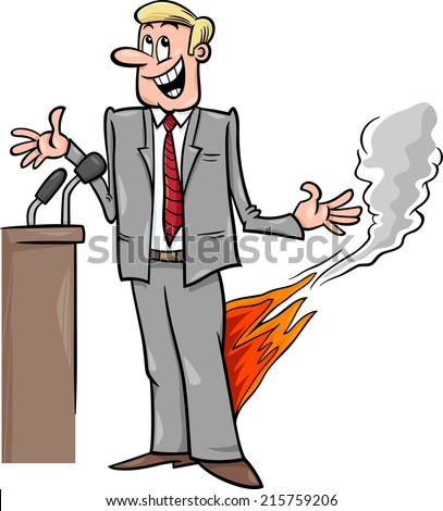 Cartoon Humor Concept Illustration of Pants on Fire Saying or Proverb