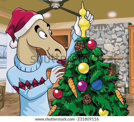 Cartoon illustration - A cute horse wearing Santa's hat decorating a Christmas tree - stock photo